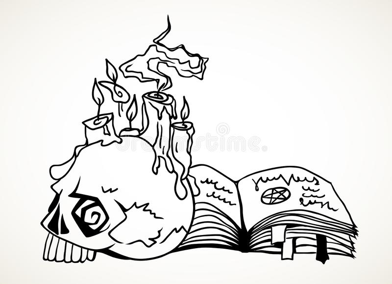 Halloween skull, spell book and glowing candles stock illustration