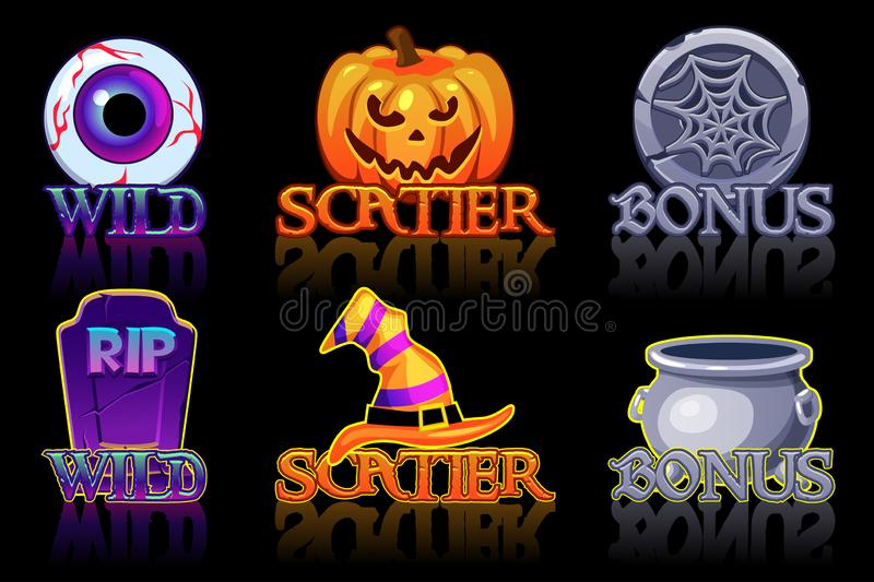 Halloween slots icons. Wild, Bonus and Scatter icons for slots machine in Halloween style stock illustration