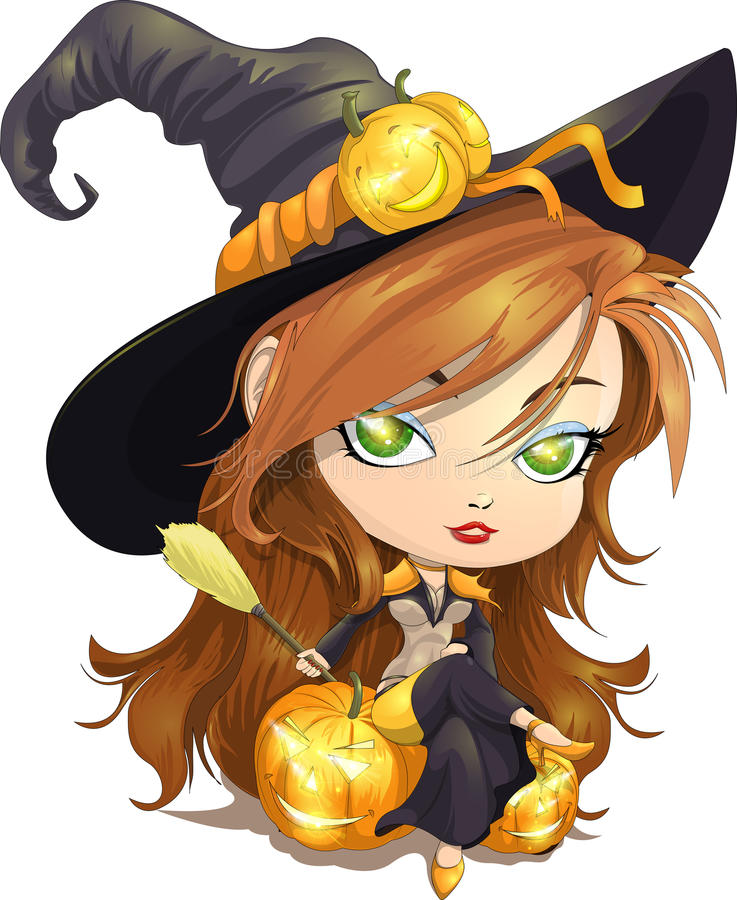 Halloween. The small witch drawn to Halloween stock illustration