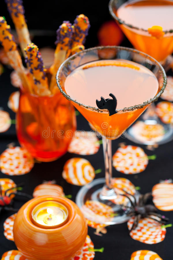 Halloween snack and drinks stock photo