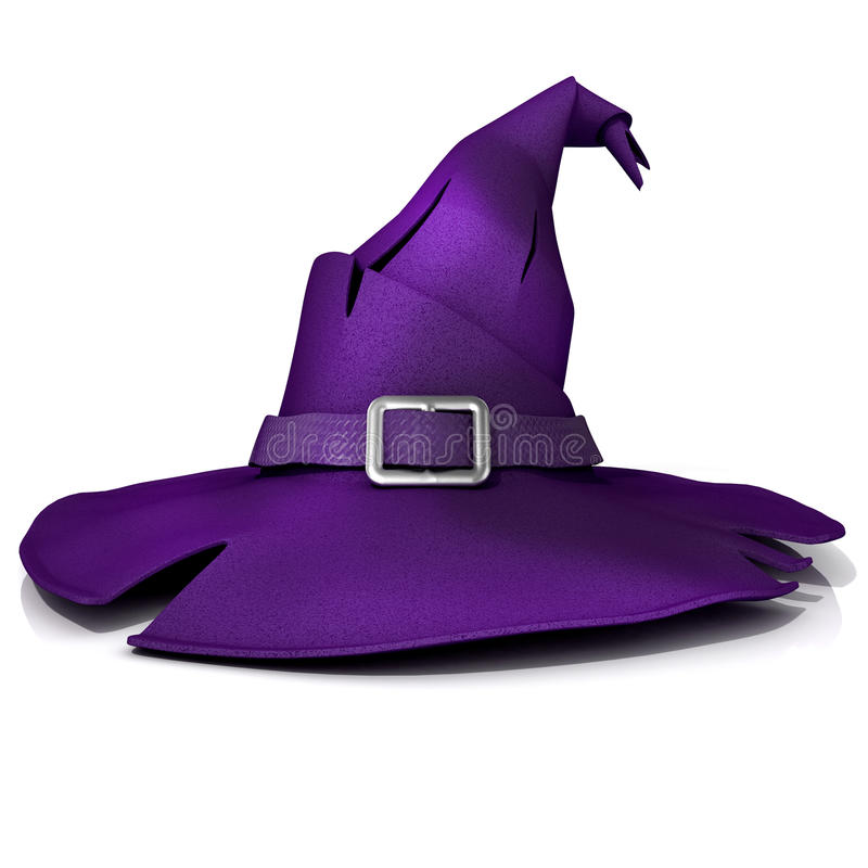Halloween, sombrero de la bruja Sombrero púrpura con la correa púrpura imagenes de archivo