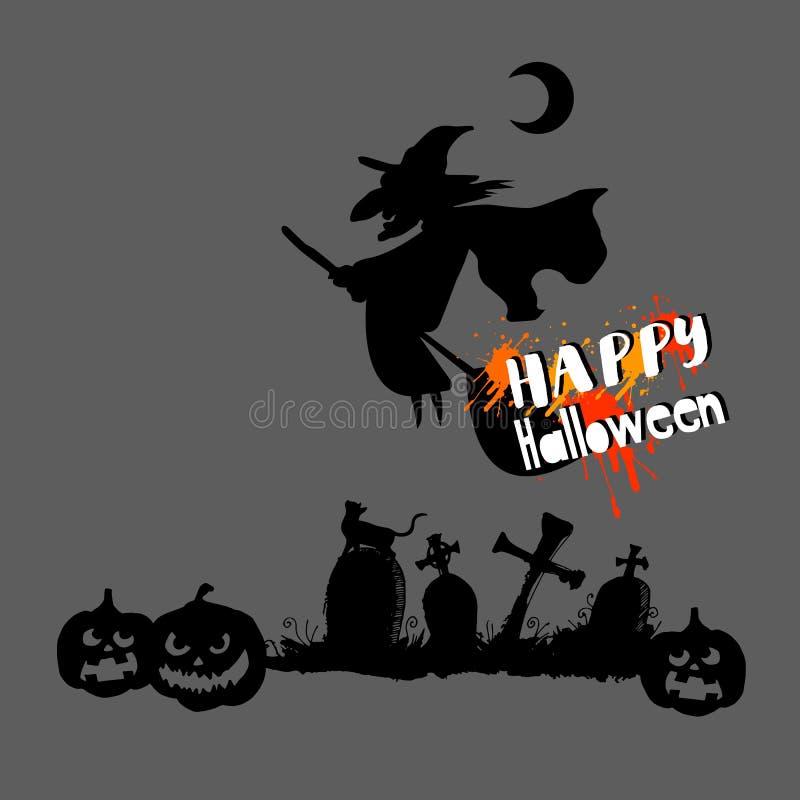 Halloween, sorcière, chapeau, vacances, noir, silhouette, bande dessinée, nuit photos libres de droits