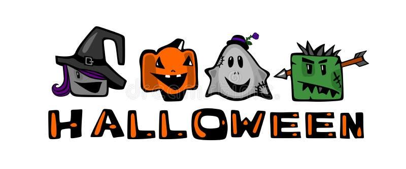 Halloween, sorcière, Ghost, zombi et potiron de sourire Personnages de dessin animé comiques sur un fond blanc illustration stock