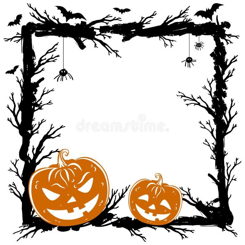 Halloween soustraient le fond avec des potirons, araignées noires illustration libre de droits