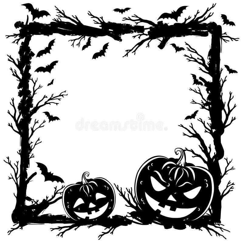 Halloween soustraient le fond avec des potirons, branches d'arbre illustration stock