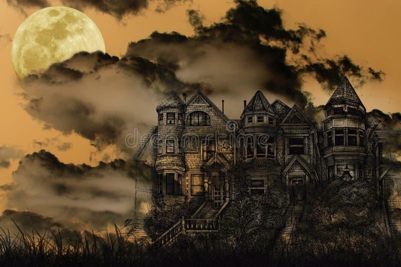halloween spökade herrgården stock illustrationer