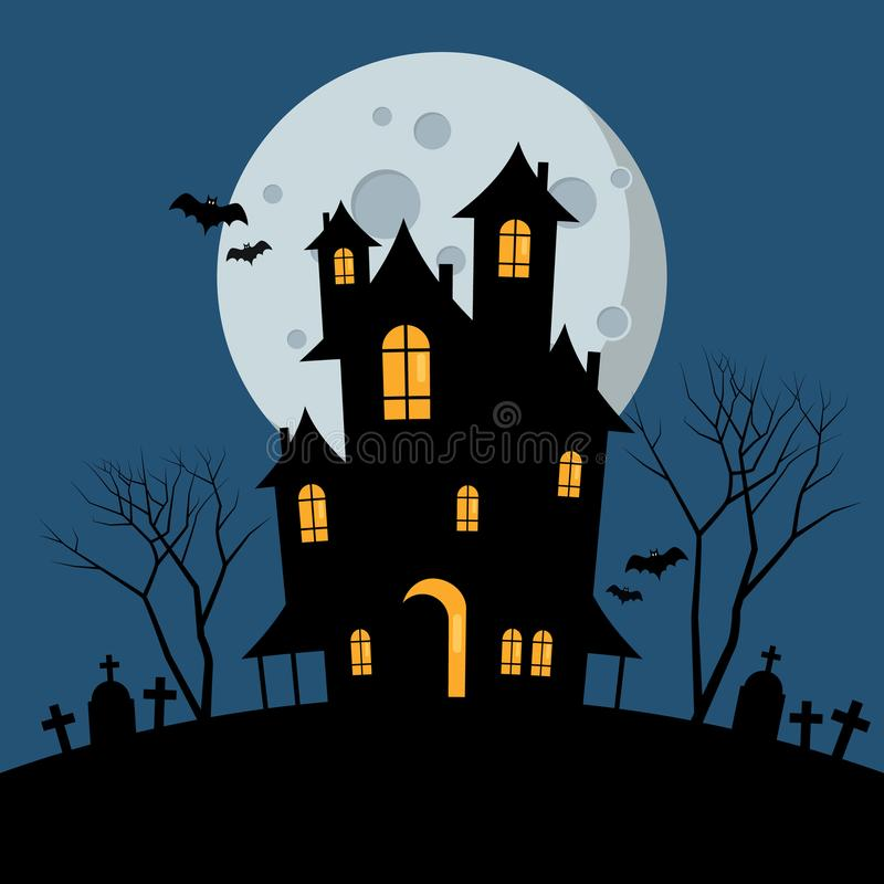 halloween spökade huset royaltyfri illustrationer