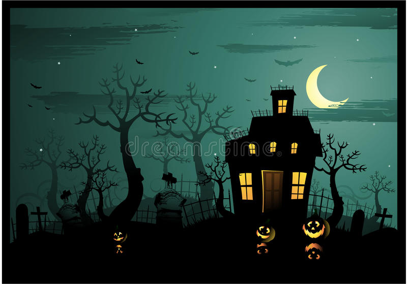 halloween spökade huset stock illustrationer