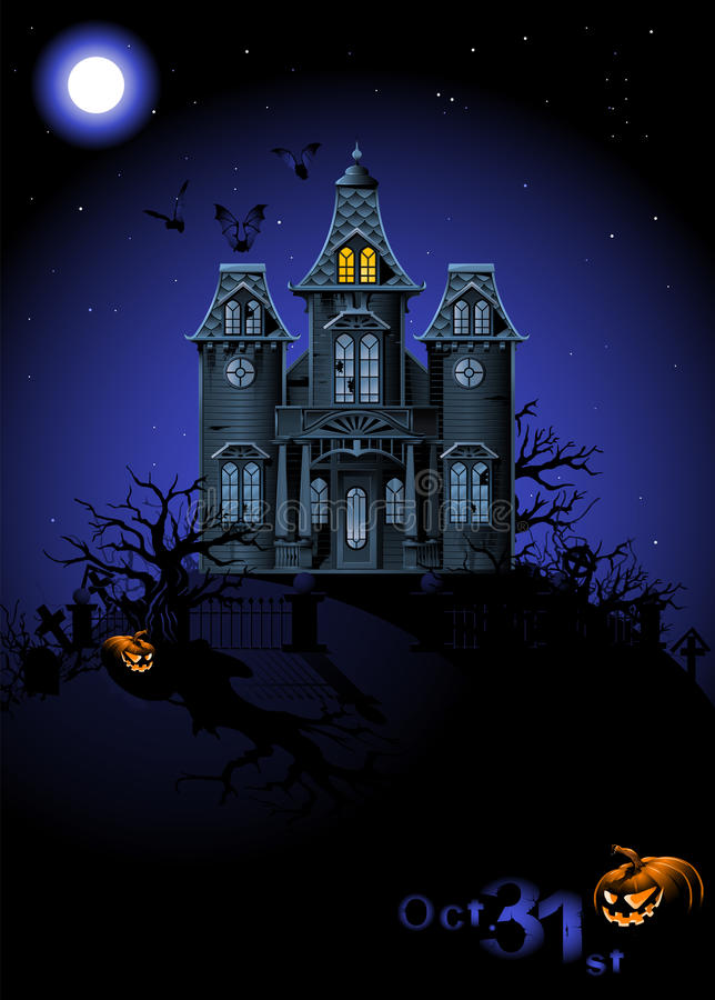 halloween spökade huset royaltyfri illustrationer