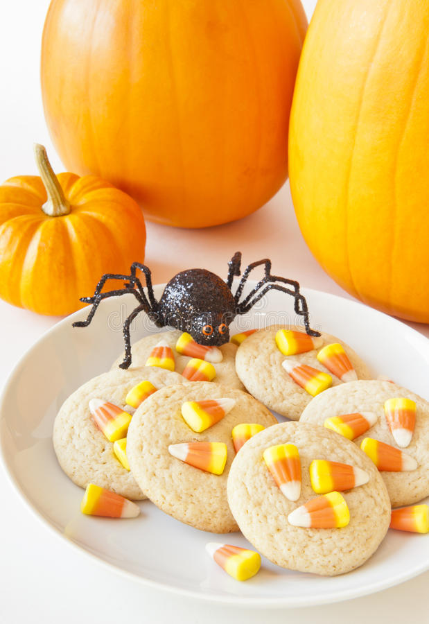 Halloween Spider with Candy Corn Cookies stock photo