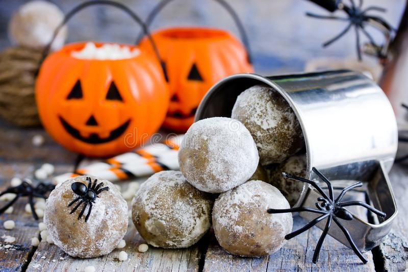 Halloween spider egg cake pops or cookies stock image