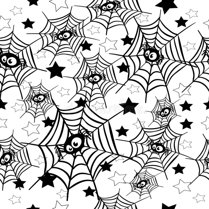 Halloween spider webs with stars pattern. Vector illustration for design and decoration vector illustration