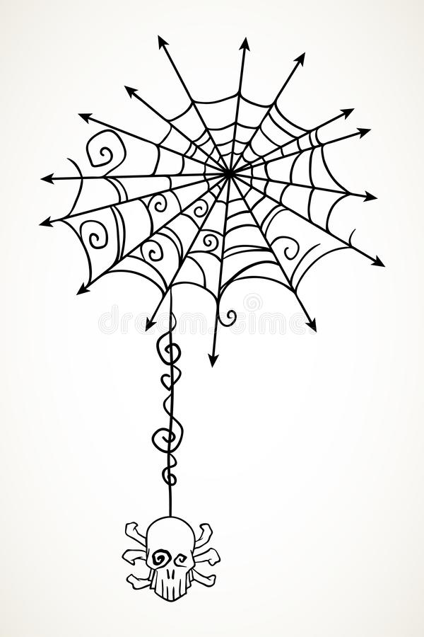 Halloween spiderweb with hanging skull royalty free illustration
