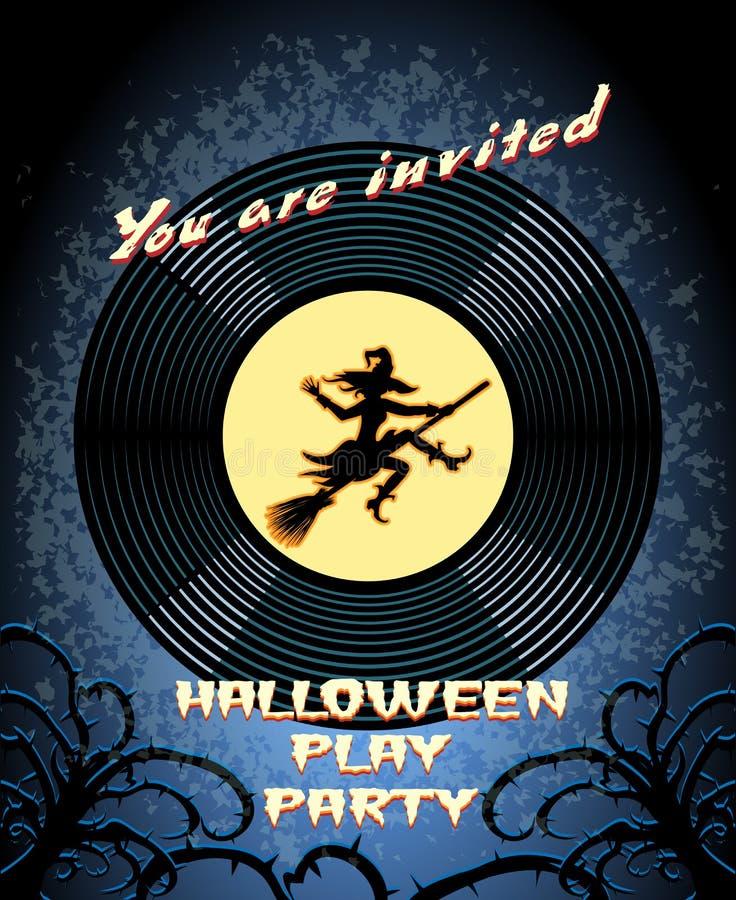 Halloween-Spiel-Partei-Einladung mit Hexen-Grafik stock abbildung
