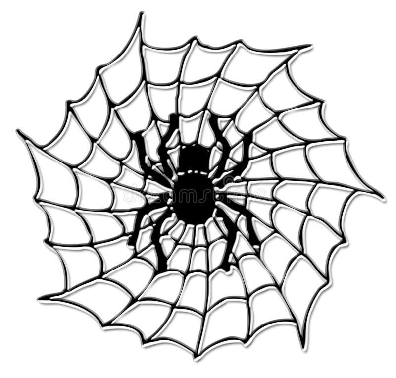 Halloween-Spinne auf dem Netz lizenzfreie abbildung