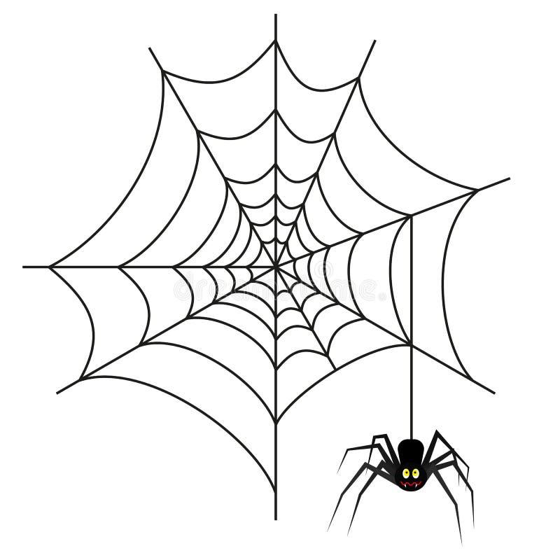 Halloween-Spinne auf Netz lizenzfreie abbildung