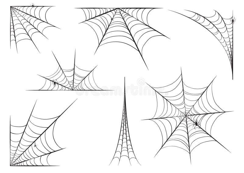 Halloween-Spinnennetz stellte in der Hand Art mit Spinnen ein Taube als Symbol der Liebe, pease stock abbildung