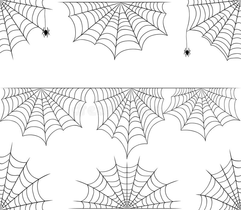 Halloween-Spinnennetzvektorrahmengrenze und -teiler auf wh lizenzfreie abbildung