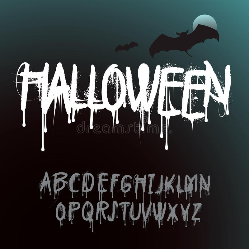 Halloween Splash Alphabet vector illustration