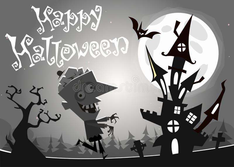Halloween-spookhuis op nachtachtergrond met een lopende dode zombie Vector illustratie Rebecca 36 vector illustratie