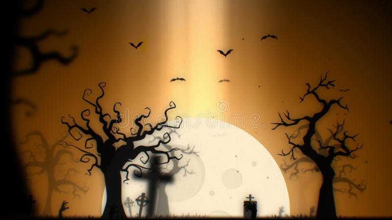 Halloween spooky background yellow theme, with the spooky tree , moon , bats , zombie hand and graveyard stock images
