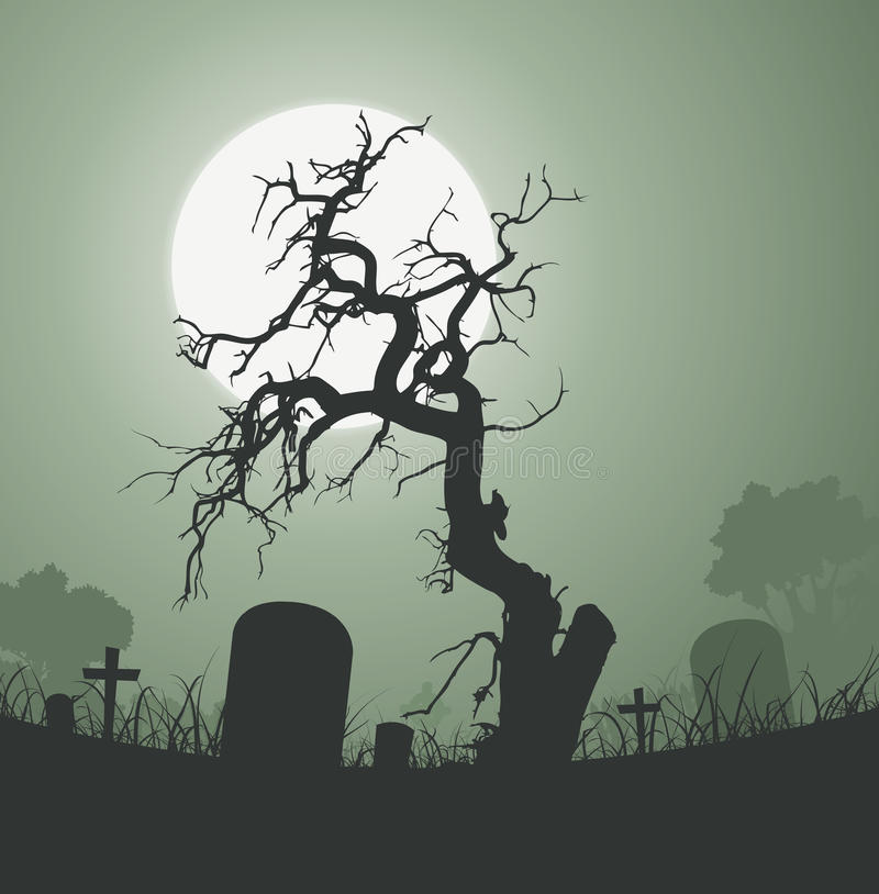 Halloween Spooky Dead Tree In Graveyard. Illustration of a halloween frightening weird dead tree inside graveyard with tombstones and a full moon in the