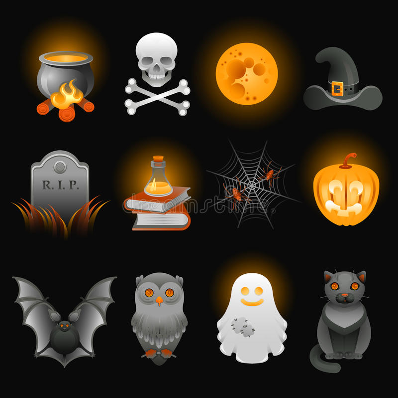 Halloween spooky icons set. vector illustration