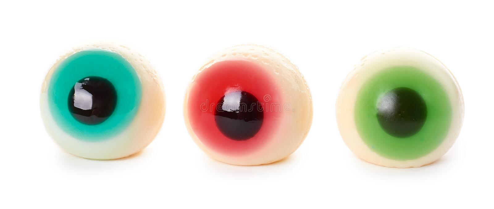 Halloween spooky jelly eye isolated on white background.  stock photo
