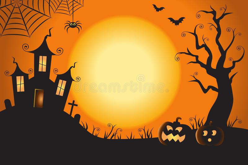 Halloween Spooky Nighttime Scene Horizontal Background 1 royalty free illustration