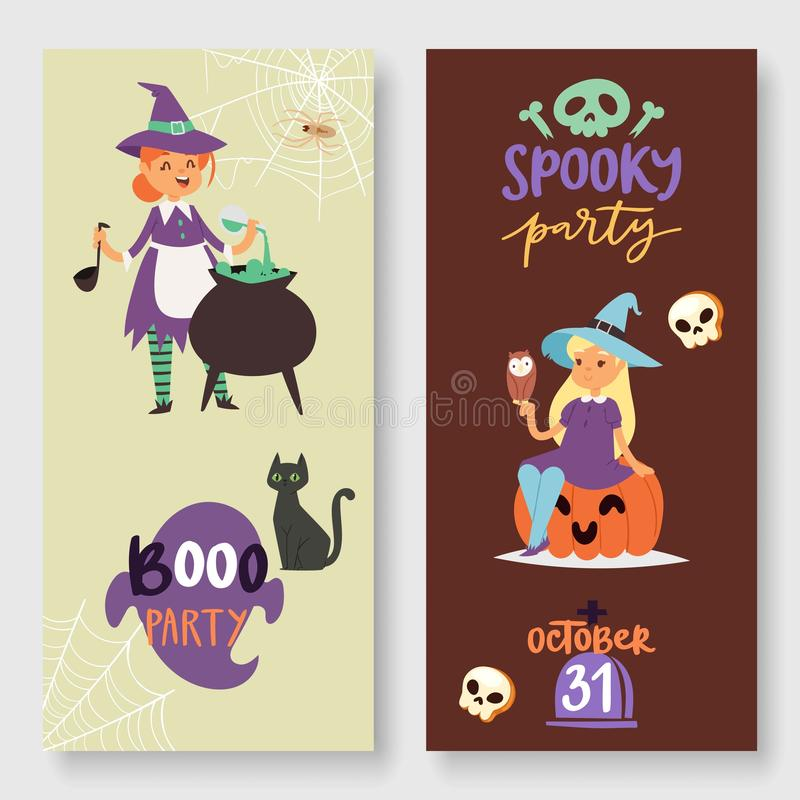 Halloween spooky party vector illustration banners set. Witch, pumpkin, black cat, magic cauldron and spider web vector illustration