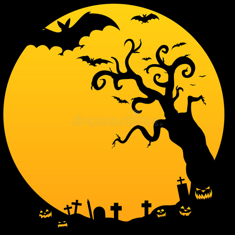 Halloween Spooky Tree. An illustration of spooky halloween tree with jack o lanterns and bats