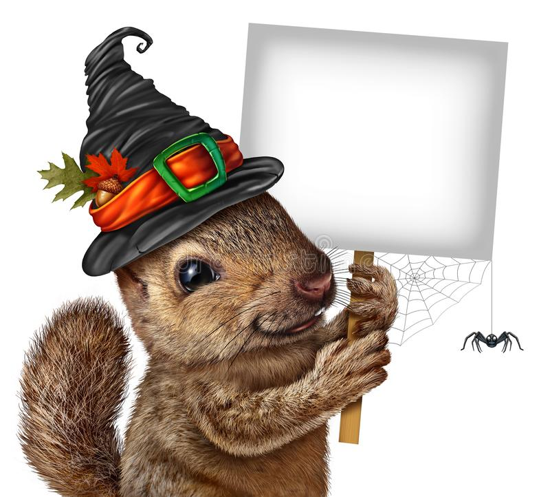 Halloween Squirrel Sign royalty free illustration