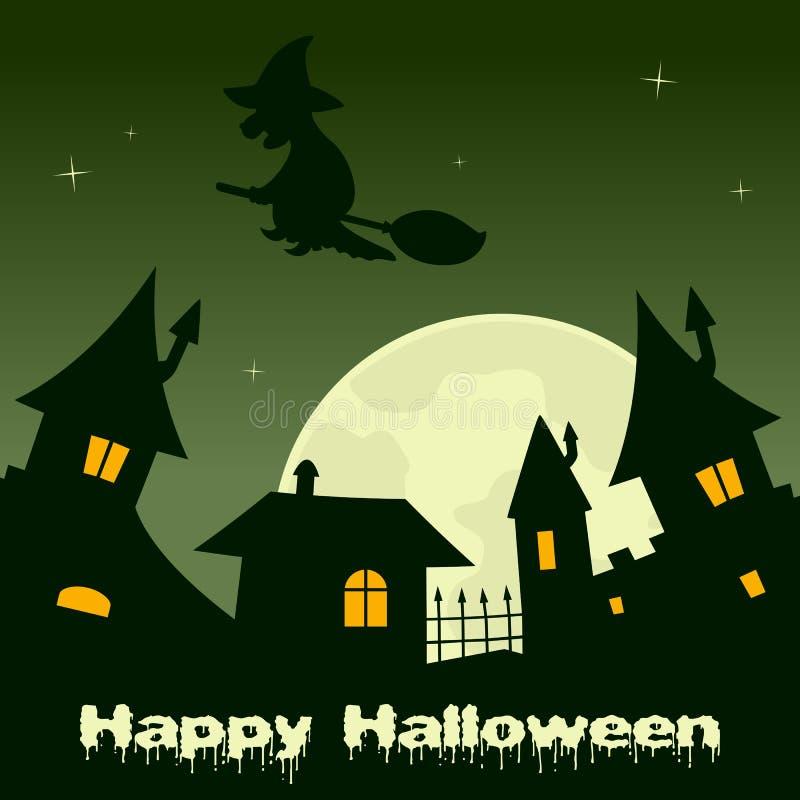 Halloween-Stadsnacht met Volle maan & Heks vector illustratie