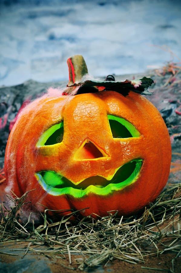 Halloween Steckfassung-o' Laterne lizenzfreies stockfoto