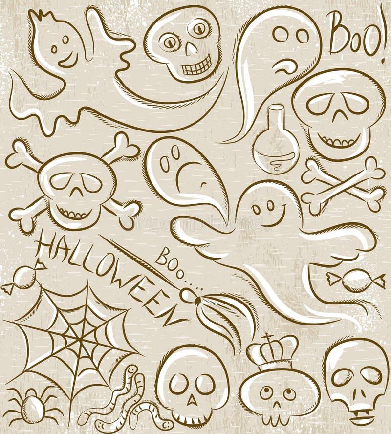Halloween stellte mit Geist, dem Schädel, Netz und Spinne ein vektor abbildung