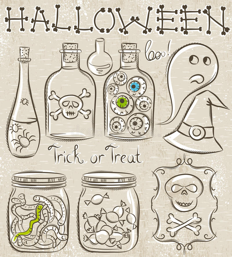 Halloween stellte mit Geist, Schädel, Glas mit Augen ein stock abbildung