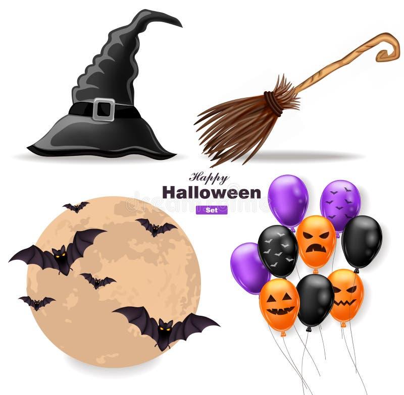Halloween stellte Mond, Ballone, Hexenhut und Besenstiel Vektor ein stock abbildung