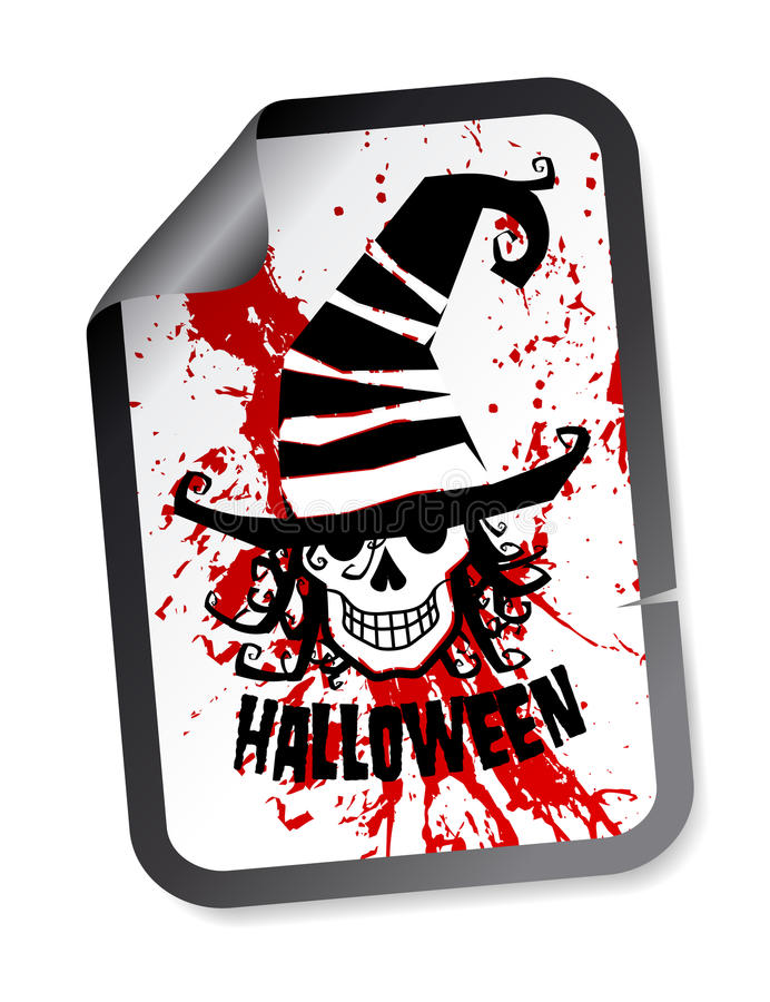 Halloween Sticker With Skull In Hat Royalty Free Stock Photo