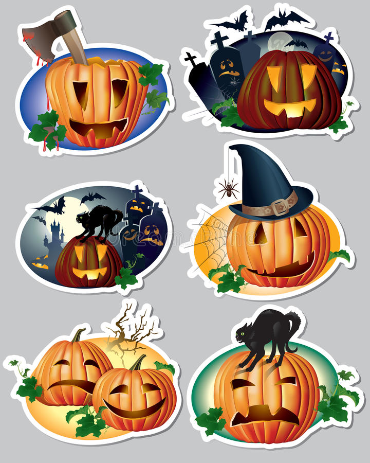 Download Halloween stickers stock vector. Illustration of magnet - 32668227