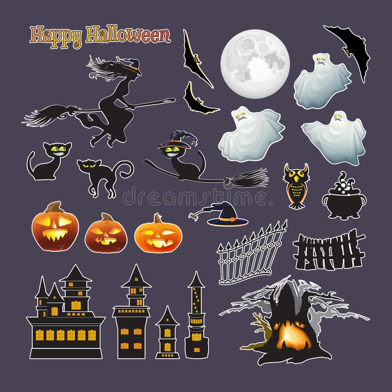 Halloween stickers. Vector set. Pumpkin, witch, moon, cat, ghost royalty free illustration