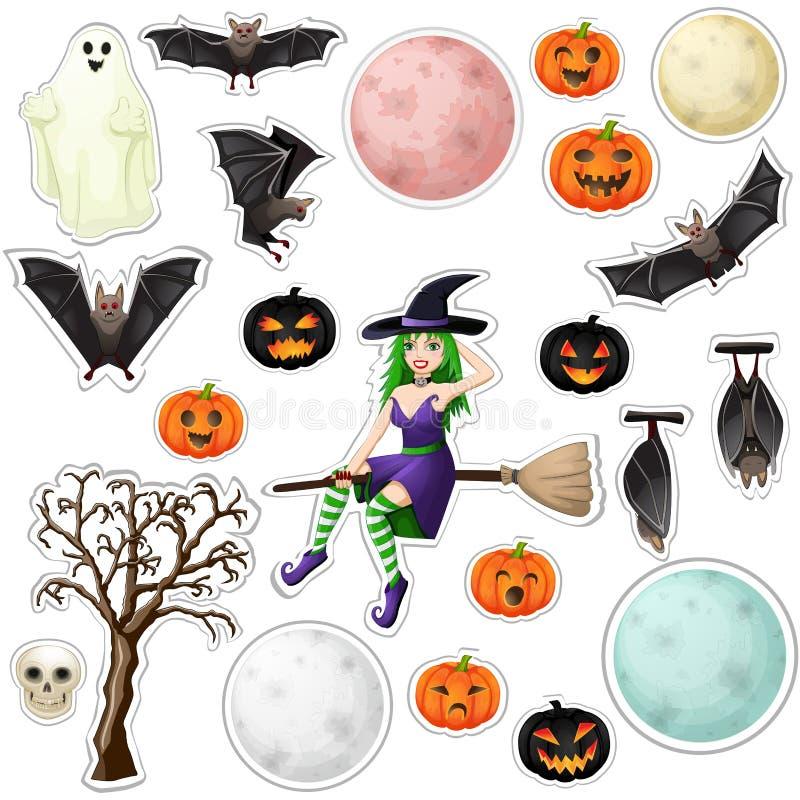 Halloween stickers. On white background vector illustration