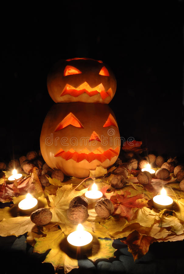 Halloween still life with two pumpkins stock images