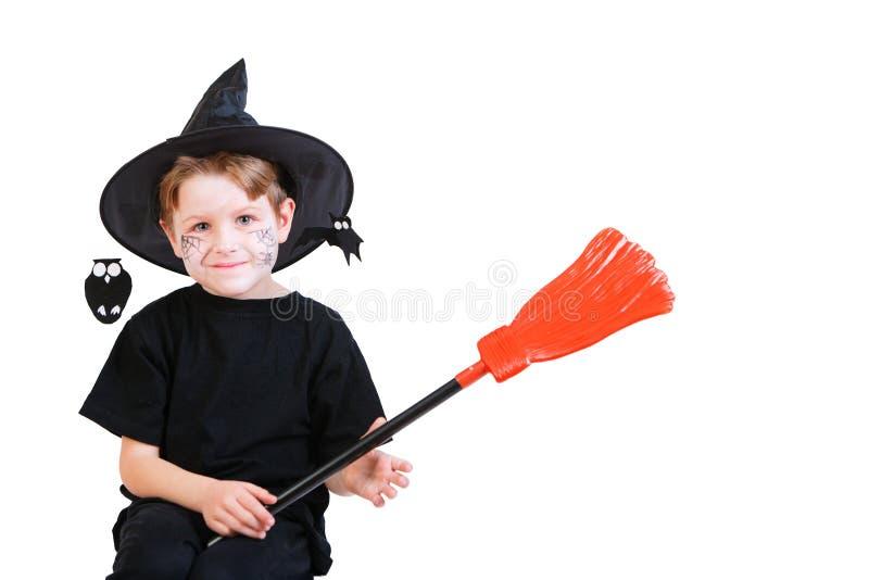 Halloween-Studioportrait des netten Jungen stockfoto