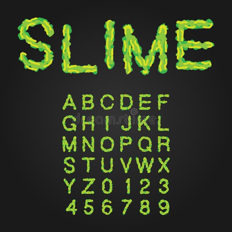 Halloween stylu Typeface zielony szlamowa Uppercase Num I listy ilustracja wektor