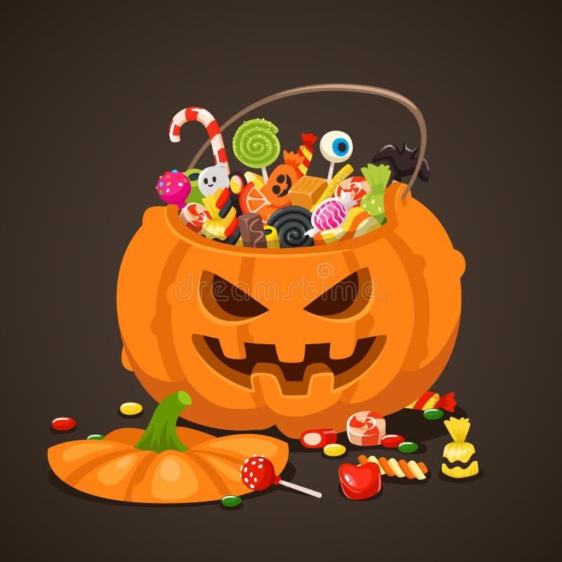 Halloween-suikergoed in pompoenzak Zoet lollysuikergoed voor jonge geitjes De truc of behandelt, de geïsoleerde vector van kinder vector illustratie