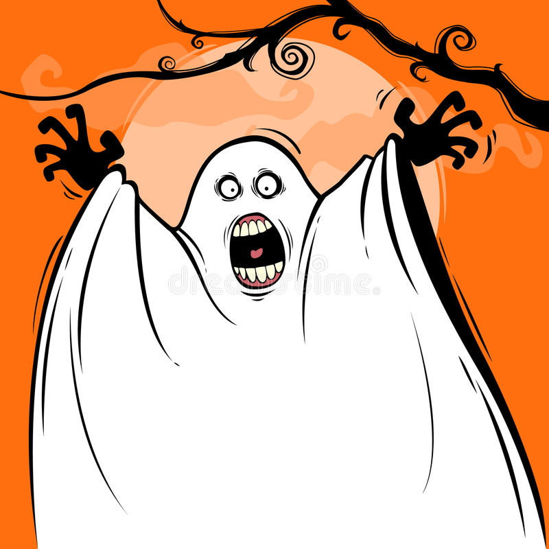 Halloween surprise. Ghost jumping up in Halloween night royalty free illustration