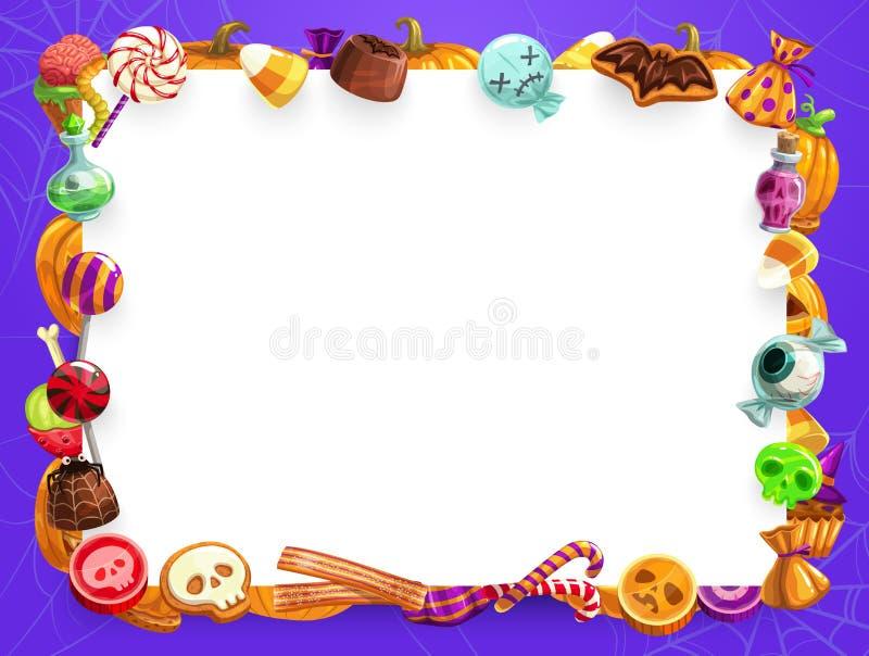 Halloween sweet treats, candies and pumpkin frame stock illustration