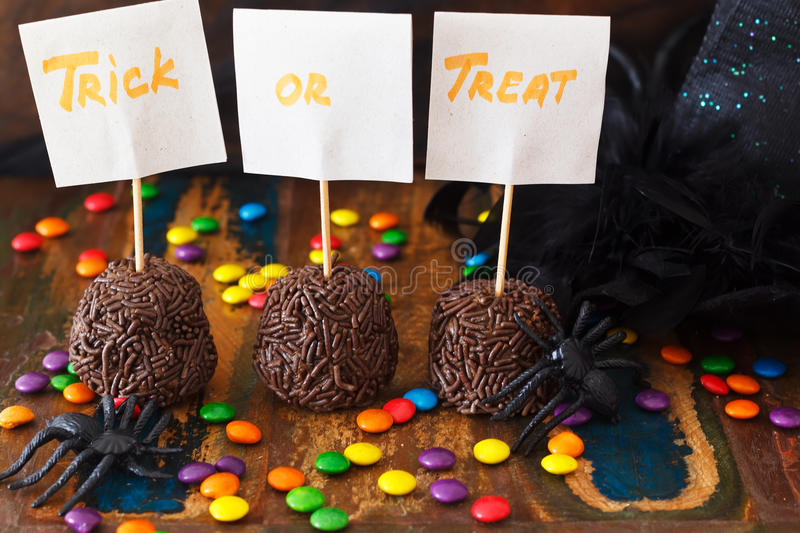 Halloween Sweets brazilian brigadeiro, chocolate candy. Spider, witch hat. Selective focus stock images