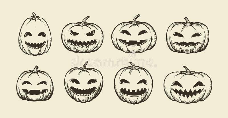 Halloween symbol. set of funny pumpkins, sketch. vintage vector illustration royalty free illustration