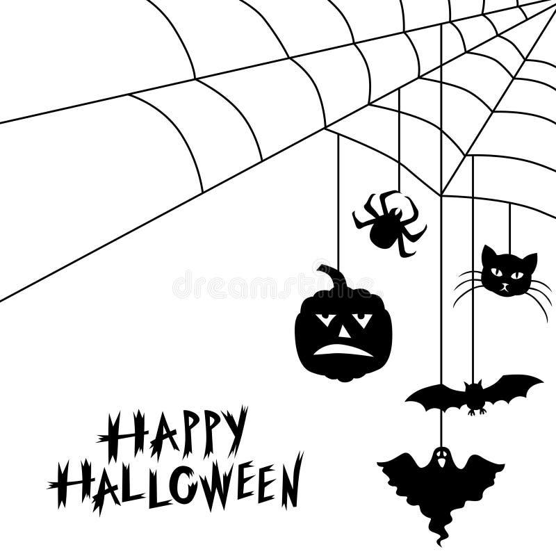 Halloween-symbolen en de kaart van de Webgroet royalty-vrije illustratie